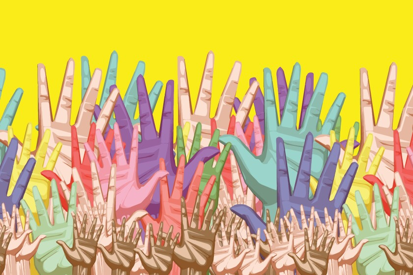 Illustration of hands of different colors raised up