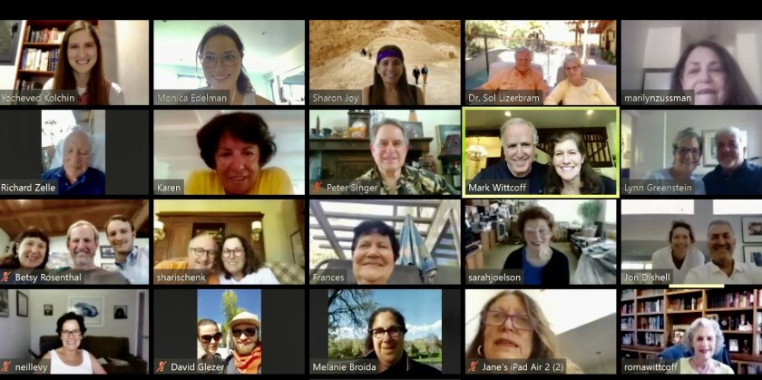 Zoom screen showing participants on a virtual tour to Israel