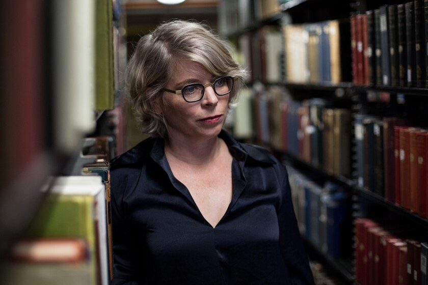 Historian and author Jill Lepore in the stacks of the Widener Library at Harvard University,  in Cambridge, Mass., on September 5, 2018.