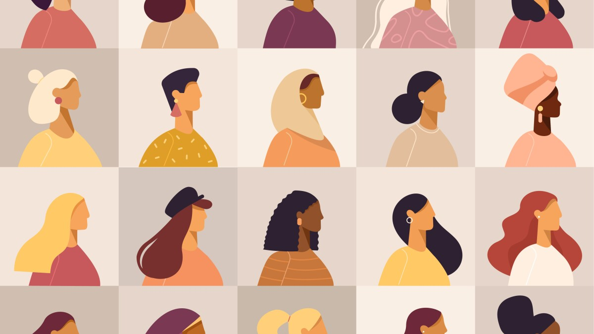Collection of profile portraits or heads of female cartoon characters.