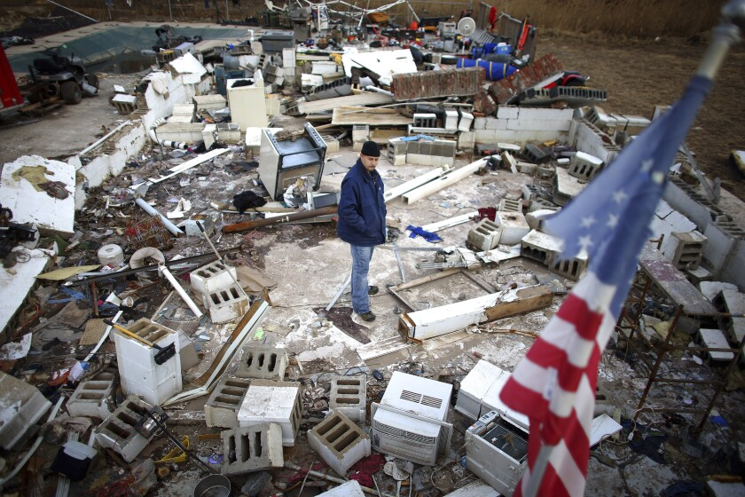 Photo of destroyed houses in Staten Island after Hurricane Sandy